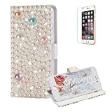 Funyye Diamond Wallet Cover for iPhone 7,Luxury 3D Rose Pearl Design Crystals Bling Magnetic Flip Case Kickstand Feature Card Slots Full Body Soft Silicone PU Leather Case for iPhone 7/8