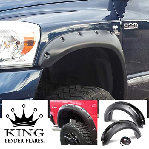 KING FENDER FLARES: Fits 2002-2008 Dodge RAM - Pocket with Rivet Style 4 Piece Bolt-ON Smooth Finish PAINTABLE Flares NO Drill Design