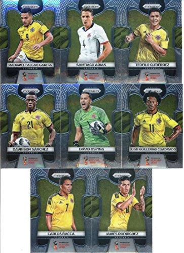 2018 Panini Prizm World Cup Soccer Colombia Team Set of 8 Cards: James Rodriguez(#38), Carlos Bacca(#39), Davinson Sanchez(#40), David Ospina(#41), Juan Guillermo Cuadrado(#42), Radamel Falcao Garcia(#43), Santiago Arias(#44), Teofilo Gutierrez(#45)