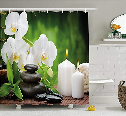 Shower Curtain Zen Stones with Orchid and Burning Candles in a Romantic Harmony Fabric Bathroom Decor Set with Hooks Green Charcoal Grey ()