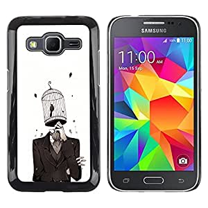 Caucho caso de Shell duro de la cubierta de accesorios de protección BY RAYDREAMMM - Samsung Galaxy Core Prime - chelovek kostyum kletka ptica
