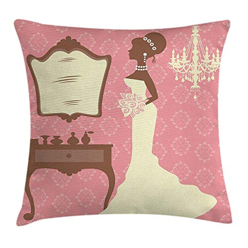 Bridal Shower Decorations Throw Pillow Cushion Cover, Wedding Dress with Flowers and Vanity Swirl Backdrop, Decorative Square Accent Pillow Case, 18 X 18 inches, Coral Brown and White ()