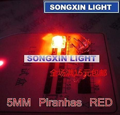 10Pcs 5mm F5 Piranha LED Yellow Round Head Super Bright Light Emitting Diode