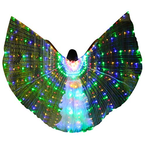 MURTIAL LED Butterfly Wings Belly Dance Costumes Glowing Performance Clothing Green ()