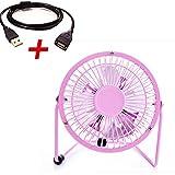 Mini Fan,Portable Fan, USB Fan, Desktop Fan(Pink with 1.4M extension cord,4)