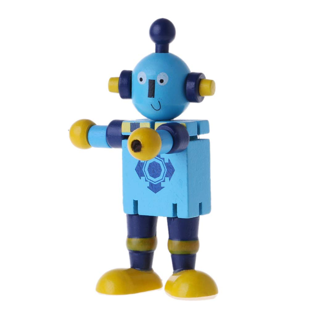 Cute Wooden Robot Block Toys Baby Action Figures Cute Model Toy Ideal Christmas Birthday Model for Kids Gift for Kids Blue Kofun Wooden Robot