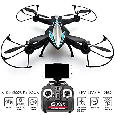 FPV Drone Zeus Quadcopter with Camera Live Video, First Person View Flight in VR, Real Time Feed Control on your iPhone / Andriod, Air Pressure Altitude Lock, Headless mode, Easy Return Home by KiiToys