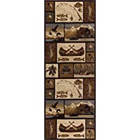 Cabin Getaway Novelty Lodge Pattern Brown Runner Rug, 2.7 x 7