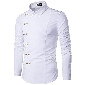 0474e581d330d ERCQA Chemise Nouveau Chemise de Marque pour Hommes Fashion Casual Chemise  à Manches Longues à Double