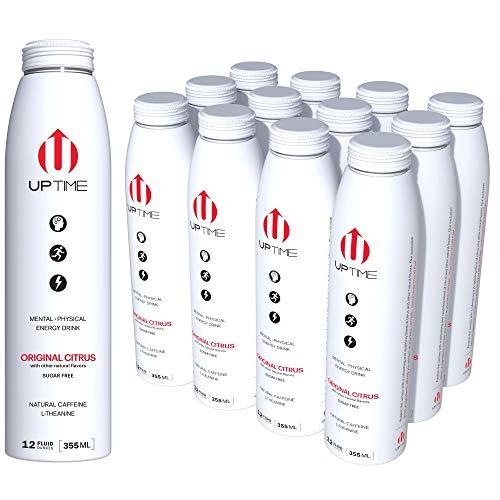UPTIME Original Citrus Zero Sugar (12 Pack), Premium Energy Drink, 12 oz Bottles, Natural Caffeine, Sparkling, Natural Flavors