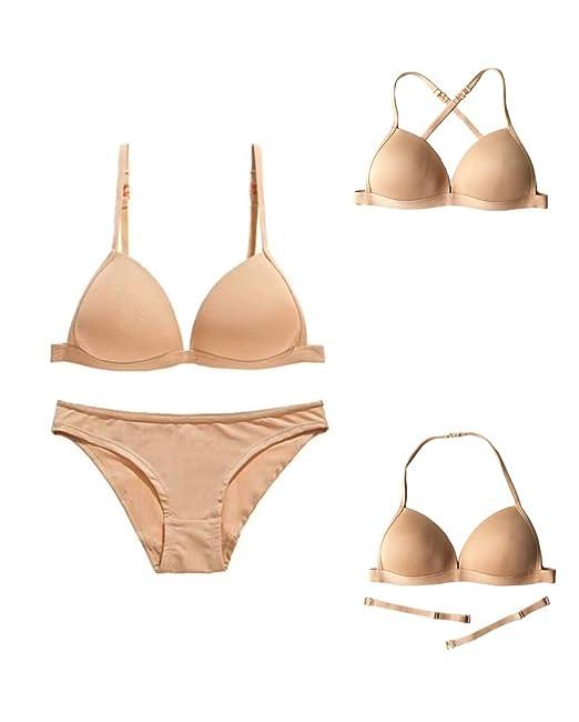 Awake Lingerie Simplicity Sujetador sin Costura y Bragas para Mujer, sin Aros con Relleno,