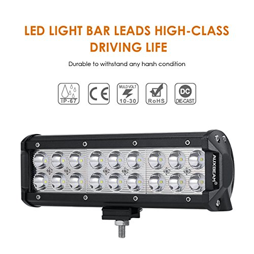 Auxbeam 9inch LED Light Bar 54W Led Work Lights Spot Beam Off-Road Driving Lights Waterproof with Mounting Brackets for Jeep Pickup trucks SUV ATV UTV Ford ()