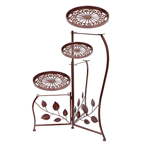 Brass Plant Stand (Dazone 3-Tier Elegant Classical Design Plant Stand with 3 Round Holders Potted Plant Rack (Bronze))