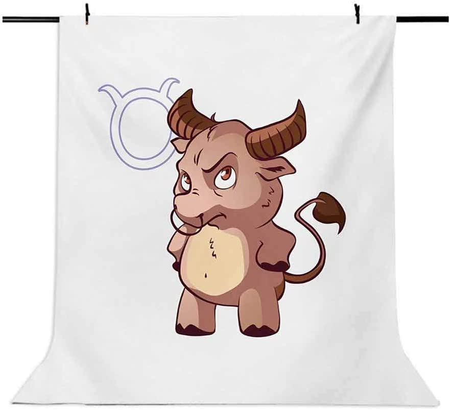 Zodiac Taurus 10x15 FT Photo Backdrops,Funny Caricature Horned Animal Little Baby Bull with Cool Look Simple Symbol Background for Baby Birthday Party Wedding Vinyl Studio Props Photography Multicolo