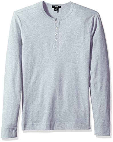 PAIGE Men's Garrett Long Sleeve Henley Tee, Light Heather Grey, L by PAIGE