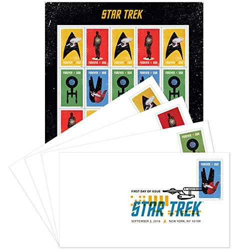 Star Trek USPS Forever First Class Postage Stamps and Four Digital Color Postmark First Day Covers