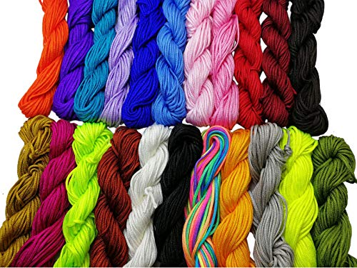 Pamir Tong Wholesale 23pcs 345 Yards 1.5mm Chinese Knotting Cord/Braided Nylon Beading Cord of 23 Colors GD23C74 ()
