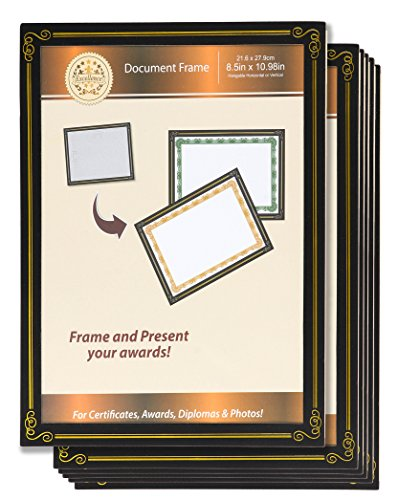Diploma Frame - 6-Pack 8.5 x 11 Certificate Frame, Document Paper Frame, University and College Diploma Display, Black, Chipboard and Plastic - Certificate Military Paper