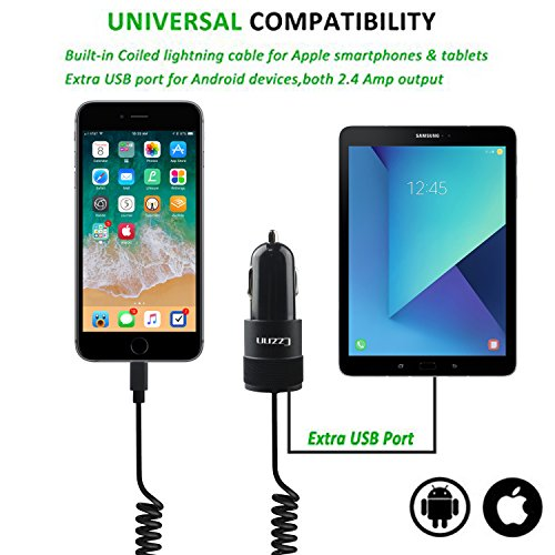 iPhone Car Charger, 4.8A Rapid USB Car Charger with Coiled Lightning Cable for iPhone X / 8 / 8 Plus / 7 / 6s / 6s Plus 5S 5 5C SE, iPad and More, with Extra USB Port by Czznn (Image #6)