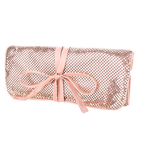 expouch Travel Jewelry Roll Bag Organizer Case Aluminum Metal Mesh Material with Silk Lining (Rose gold)