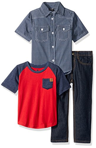 American Hawk Boys Short Sleeve Woven, T-Shirt Or Creeper, and Jean Set