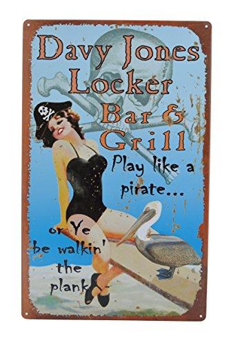 Funny pin up girl tin signs davy jones locker bar and for Davy jones locker fishing