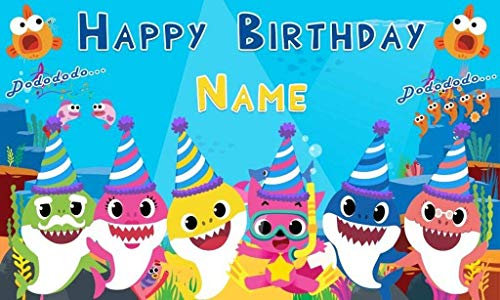 Baby Shark Birthday party Banner decoration Personalized/Custom Seamless Backdrop -