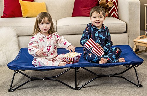 Modern Toddler Cot Bed - Regalo My Cot Portable Toddler Bed, Includes Fitted Sheet and Travel Case, Royal Blue