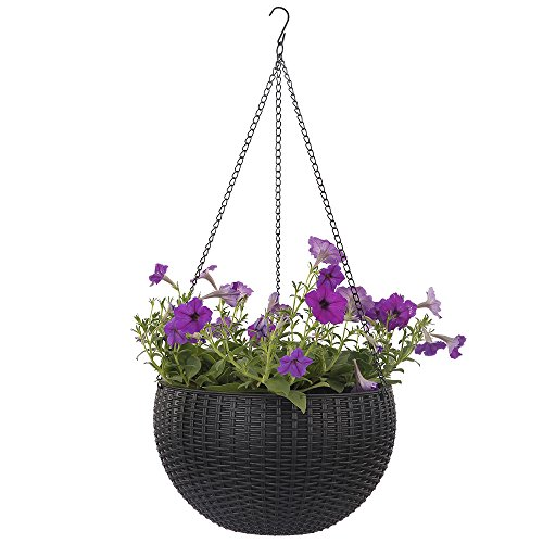 Basket Lily Arrangement (Growers Hanging Basket, Indoor Outdoor Hanging Planter Basket, 10.4 in.Round Resin Garden Plant Hanging Planters Decor Pot (Black))