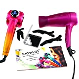 Sminiker Showliss Pro Hair Dryer and Curling iron Hair Curlers Automatic Curling Wand with LCD Display 3 Temperature Control Mode Universal Voltage Gift Box for Birthday Christmas Gift (pink&gold)
