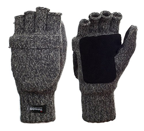 Metog+Suede+Thinsulate+Thermal+Insulation+Mittens+Black+tweed+L