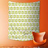 Analisahome Decorative Wall Tapestry Abstract Round Oriental Asian Ancient Traditional Exotic Islamic Ikat Patterns Home Green Decor Bedding