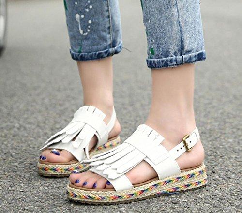 DANDANJIE Libre Verde Zapatos al para Velcro Estilo Moda caseros marrón Aire de Sandalias Zapatos británico Blanco Mujer Sandalias Blanco Negro Estudiante Gruesos de PPFrq