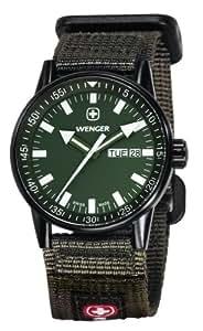 Wenger 70174 - Reloj de caballero de cuarzo, correa tela, color verde