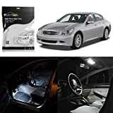 Partsam 7PCS White Interior LED Light Package Kit Compatible with Gift Tool Replacement for Infiniti G35 Coupe 2003 2004 2005 2006 2007