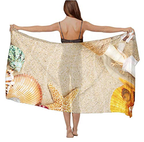 YongColer Starfish Conch Seashell 4 Large Scarf for Women Wedding Party Beach Travel Vacation Swimsuit Everyday Accessory, Chiffon Shawl Wrap Stole - Elegant Gift