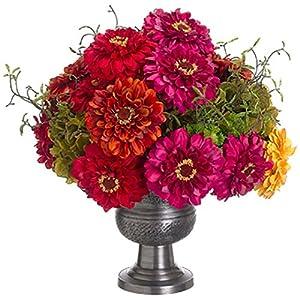 "16"" Hx17 W Zinnia, Sedum & Hydrangea Silk Flower Arrangement -Red/Green 9"