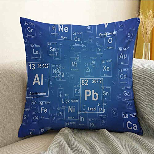FreeKite Science Pillowcase Hug Pillowcase Cushion Pillow Chemistry Tv Show Inspired Image with Periodic Element Table Image Print Art Anti-Wrinkle Fading Anti-fouling W16 x L24 Inch Blue and White
