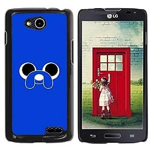 YOYOYO Smartphone Protección Defender Duro Negro Funda Imagen Diseño Carcasa Tapa Case Skin Cover Para LG OPTIMUS L90 D415 - azul lindo animal de la historieta del perro