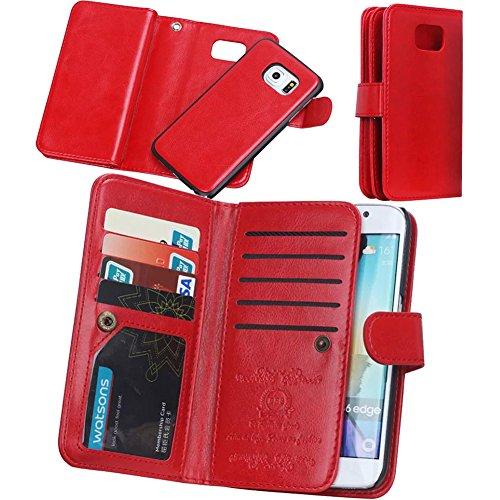 (Eloiro iPhone 6 PLUS 6S PLUS Wallet Case, Multiple Credit Card Holder Slots Purse Case Magnet Detachable Back Cover Slim Flip Holster Carrying Case [Wrist Strap] for iPhone 6Plus/6sPlus 5.5''(Red))