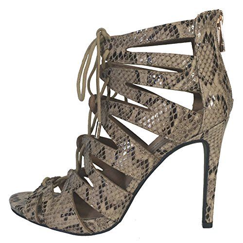 Womens Pu Up Snake Sandal Heel Michelle Anne Lace Print Ghillie 165Zwzq
