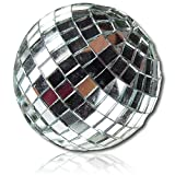 Custom & Decorative {2.75'' Inch} 6 Pack Of, Mid-Size Hanging Ornament Made of Grade A+ Foam & Resin w/ Shiny Glimmering 70's Dance Floor Mirrored Square Tiles Disco Ball Sphere Style {Chrome Silver}