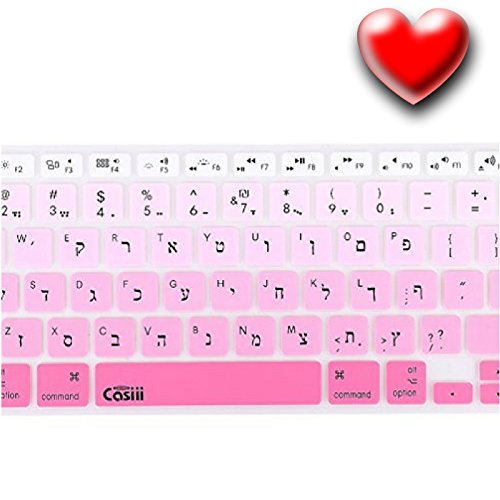 Casiii Multilingual Ultrathin Silicone Keyboard Cover for Macbook, Macbook Pro, Macbook Air, and iMac, 13, 15, and 17 Inch, Fits 2015 Model and Older With/Without Retina Display (Ombre Pink)