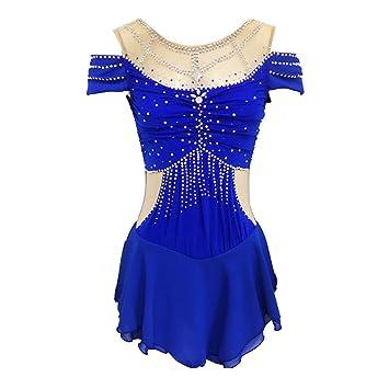 Royal Blue Manga Corta Vestido de Patinaje artístico para ...