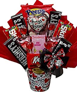 """Delight Expressions® """"Hugs and Kisses"""" Gift Basket - Valentine's Day Candy Bouquet"""