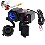 TurnRaise Dual 4.2A USB Ports Charger socket for motorcycle/Motorbike/Car/ATV with Waterproof cover,Cigarette socket Lighter,hidden Voltmeter,independent Switch Combo for iPad iPhone Cellphone GPS