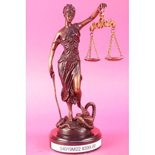 Handmade European Bronze Sculpture Signed Mayer Lawyer Blind Justice Figure Law Figure 10
