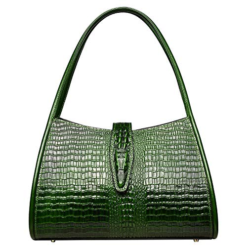 PIJUSHI Designer Shoulder Purses Hobo Handbags for Women Leather Tote Shoulder Bags (Green croco)