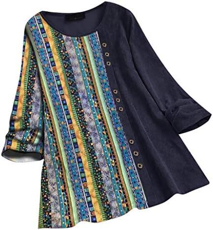 [해외]Meikosks Women`s Plus Size Blouse Vintage Stripe Patchwork T Shirt Corduroy Long Sleeve Tops / Meikosks Women`s Plus Size Blouse Vintage Stripe Patchwork T Shirt Corduroy Long Sleeve Tops