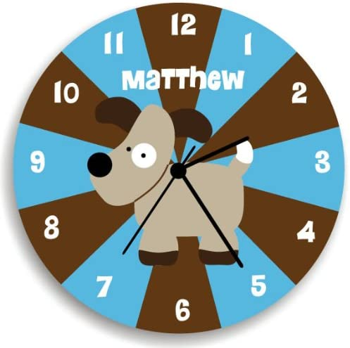 Kid O Design Studio Dog Personalized Wall Clock For Children, Blue and Brown Clock for Nursery Decor,